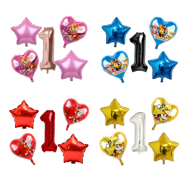 5pcs ורוד שמיים מרדף PAW סיירת שחור עלה זהב לב לסכל בלוני מספר מסיבת יום הולדת דקור הליום Globos צעצועים תינוק מקלחת