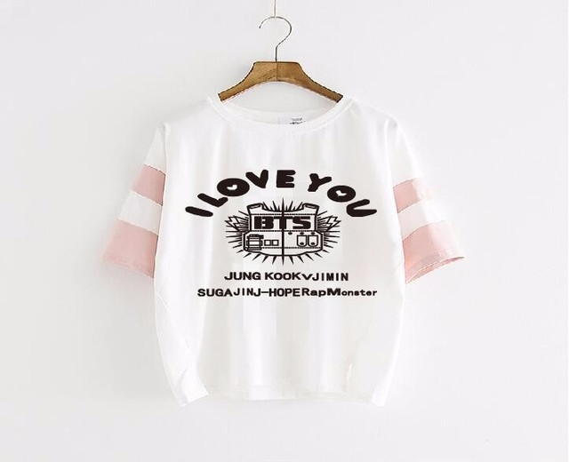 2017 camisas de Algodón de verano de las nuevas mujeres suelta de manga corta t-shirt de Corea idol kpop bts estrella mismo estilo t tee shirt casual mujeres