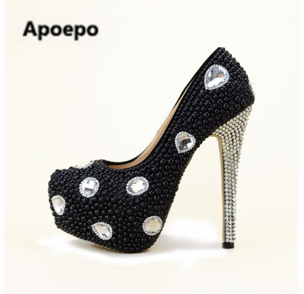 Apoepo Brand fashion gladiator pumps Rhinestone platform shoes women high heels pumps shoes black pearl sexy Nightclub shoes apoepo brand 2017 zapatos mujer black and red shoes women peep toe pumps sexy high heels shoes women s platform pumps size 43