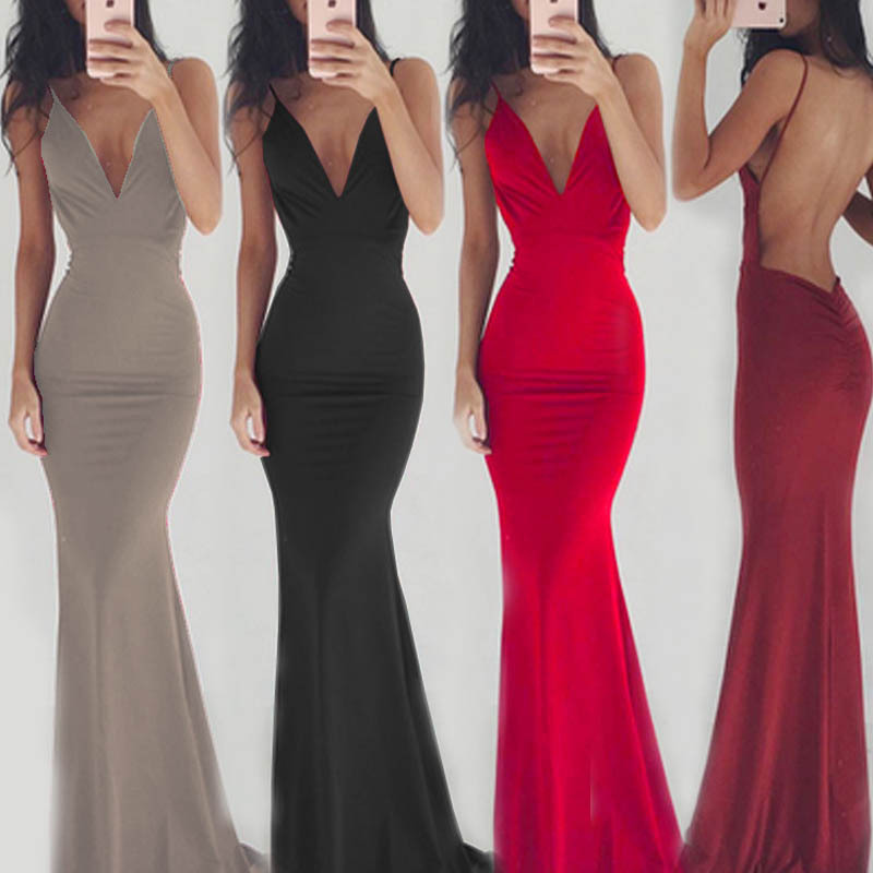 5 Colors Backless Satin Women Dresses Sexy Deep V Neck Floor Length Bodycon Slim Black Wine Evening Party Dress Silky Club Dress