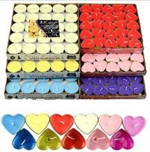 50pcs Romantic Smokeless candles  circle heart-shaped Tealight decorative candle for birthday wedding party home decor