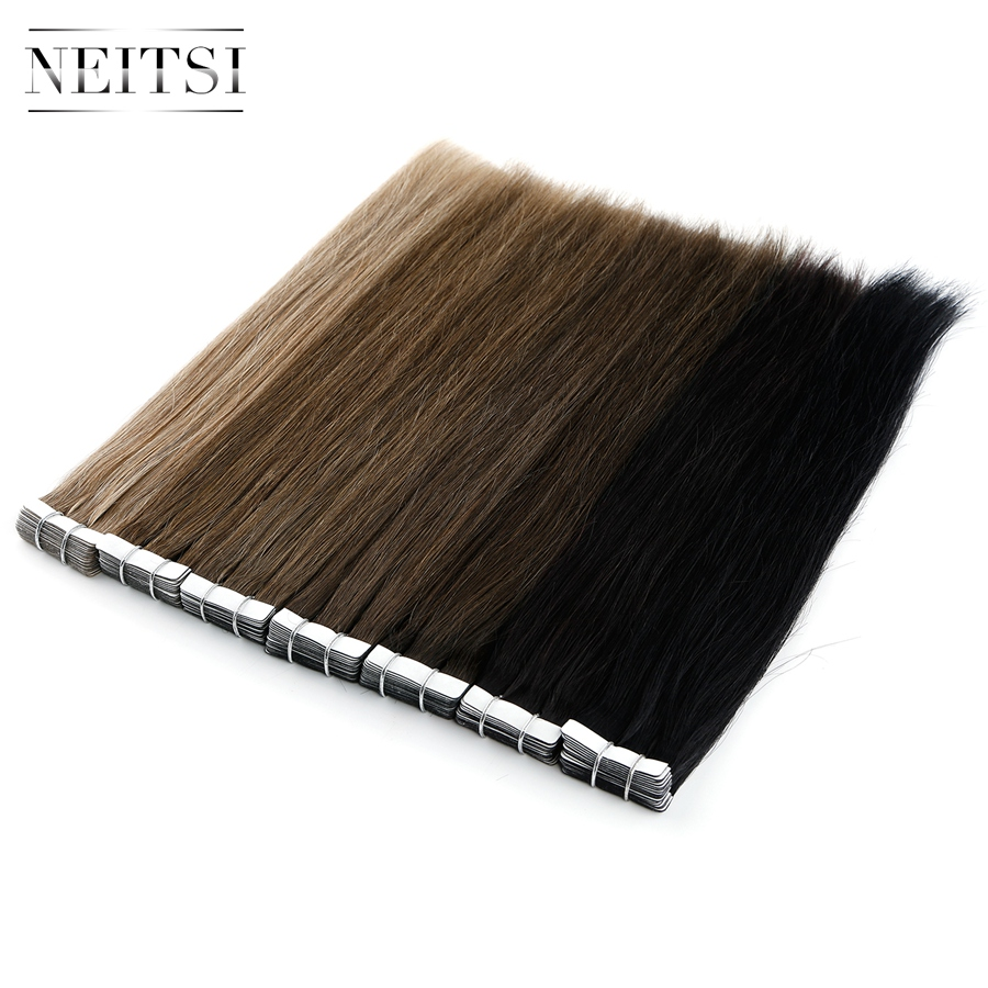 """Neitsi Tape In Human Hair Extensions 12"""" Double Side Tape Straight Skin Weft Adhesive Hair 15 Colors"""
