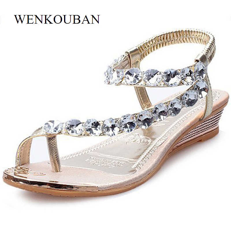 0bfaa664afd21a Detail Feedback Questions about Women Summer Shoes Wedge Sandals Crystal  Wedding Sandal Female Casual Flip Flops Ankle strap Rubber Sole thong  sandalia ...