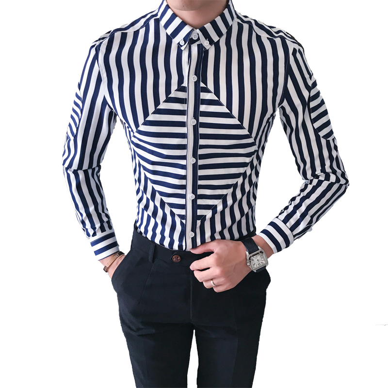 Hot Sale Men Night Club Shirts Casual Slim Fit Long Sleeve Striped Tuxedo Shirt Male Fashion 2018 camisa social masculina 3XL-M