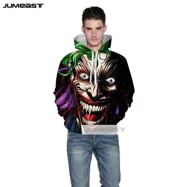 Jumeast Brand 3D Printed The Joker Men Women Hoodies Cool Smile FaceTrend Hooded Sweatshirt Hip hop Long Sleeve Sport Pullover