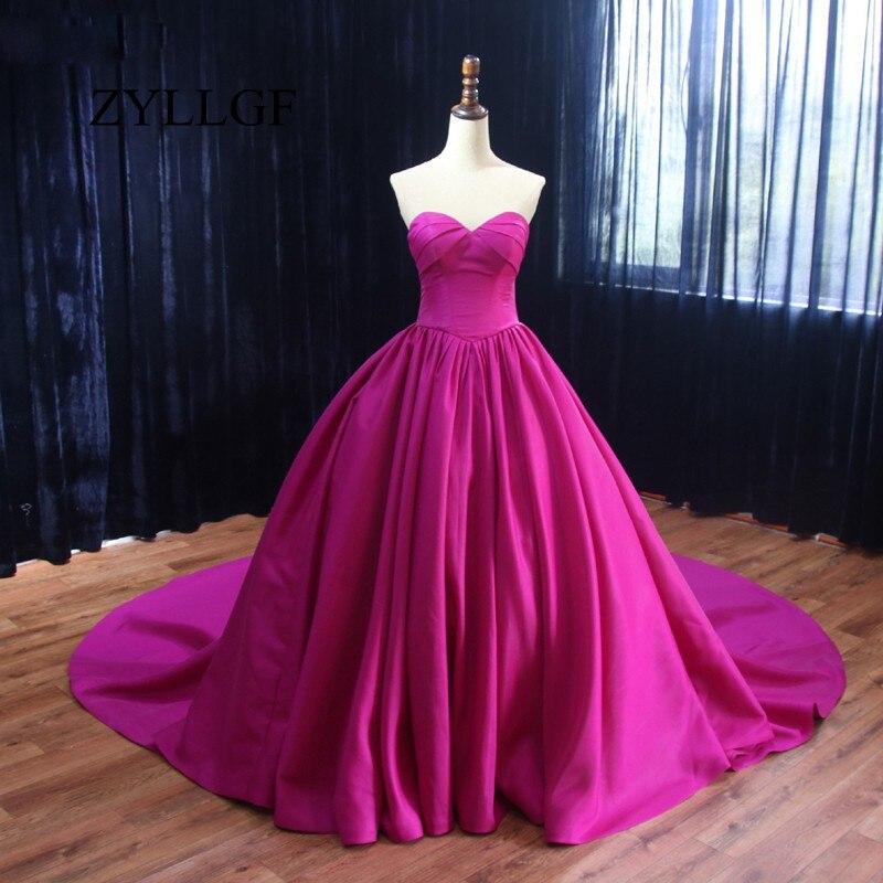 Niedrigerer Preis Mit Zyllgf Lange Mutter Kleid 2018 Puffy Schatz Sleeveless Einfache Ballkleid Heißer Rosa Frauen Formale Kleid Für Mama Rs53