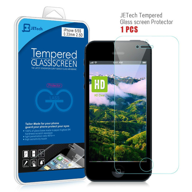 4eec388c405 JETech Cell Phone Screen Protector for IPhone 5/5S/5C , Premium Tempered  Glass