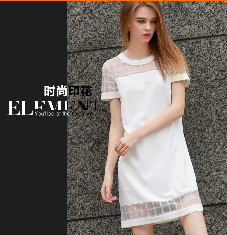 2015 HOT white girls dress short sleeve women summer autumn sexy fashion dress  office lady working organza dress size S M L F104-in Dresses from Women s  ... bef5f136fcd4