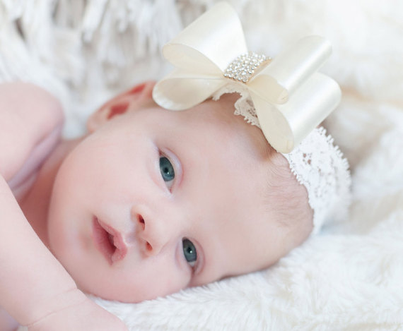 10 Colors Baby Luxe Hair Flower Bows With Lace Headband Pearl Rhinestone Center Hard Bow Headband Baby Girls Hair Accessories