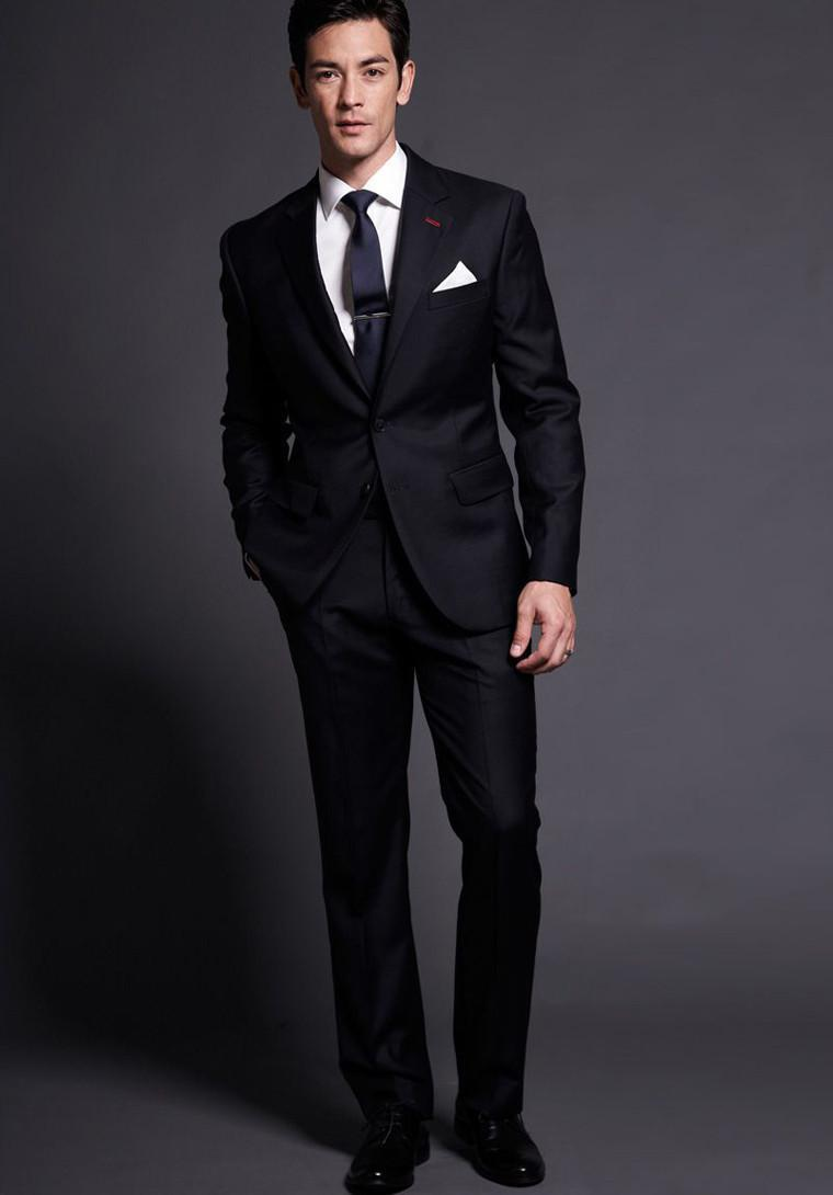 Online Shop 2015 Men suits slim fit groom Tuxedos black suits Men ...