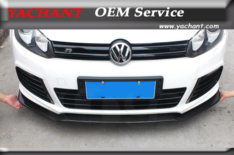 Car-Styling Carbon Fiber Front Bumper Lip Fit For 2010-2012 Volkswagen Golf 6 MK6 R20 Front Lip