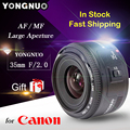 Free Gift YONGNUO YN35mm YONGNUO 35mm F/2 Lens Wide-angle Large Aperture Fixed Auto Focus Lens For Canon cameras for Canon 35mm