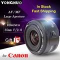 Regalo libre YN35mm YONGNUO YONGNUO 35mm F/2 Lente de Gran angular de Gran abertura Fija Lente de Enfoque Automático Para Canon cámaras de Canon 35mm