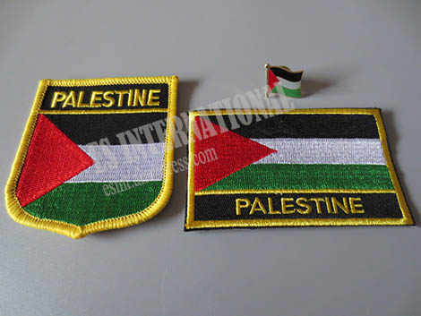 National Flag Embroidery Patches and Metal Flag Lapel Pin PALESTINE
