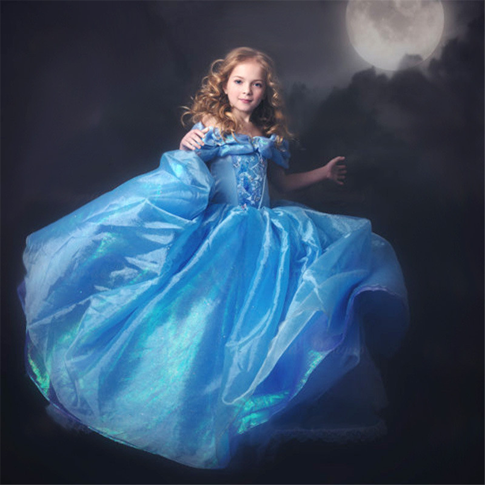 Girls Blue Cinderella Elsa Dresses Children Sleeping Beauty Princess Dress with Butterfly Kids Christmas Party Carnival Costumes 2015 new style movies cinderella princess dresses for kids nice blue princess dresses cinderella fancy costumes child s clothes