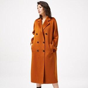 Image 2 - IRINAW902 mới xuất hiện 2018 handmade đôi phải đối mặt với Len Cổ Điển đôi rời dài Cashmere Áo Khoác Len Nữ