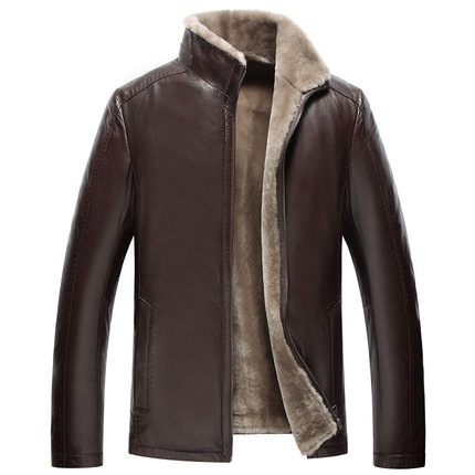 2015 In winter New man Lapel A short and slim type Sheep shearing Skin and fur Leather jacket  WXN021