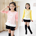 Spring Autumn New Children's Clothing Girls Korean Bud Silk Long Sleeve T-shirt Kids Clothing Pink Yellow