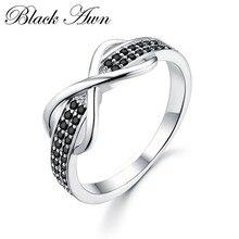 [BLACK AWN]-anillo de compromiso de Plata de Ley 925 para mujer, joyería fina, anillos de boda C090
