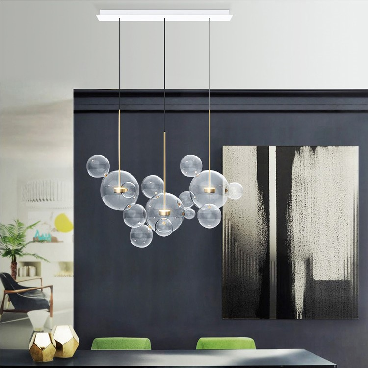 Nordic post-modern glass living room chandelier simple personality restaurant light Mickey bubble bedroom study pendant lamp modern restaurant pendant lights living room study led aluminum tube pendant lamp bedroom light simple european glass rod lamp