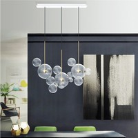 Nordic post modern glass living room chandelier simple personality restaurant light Mickey bubble bedroom study pendant lamp