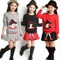 2016 primavera e verão meninas longa-manga conjunto de roupas crianças meninas Europeus e Americanos (camisas + saia) 2 peças conjuntos de roupas