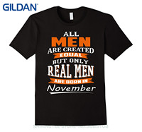 GILDAN Tshirt Brand 2017 Male Short Sleeve All Men Are Created Equal Real Men Are Born