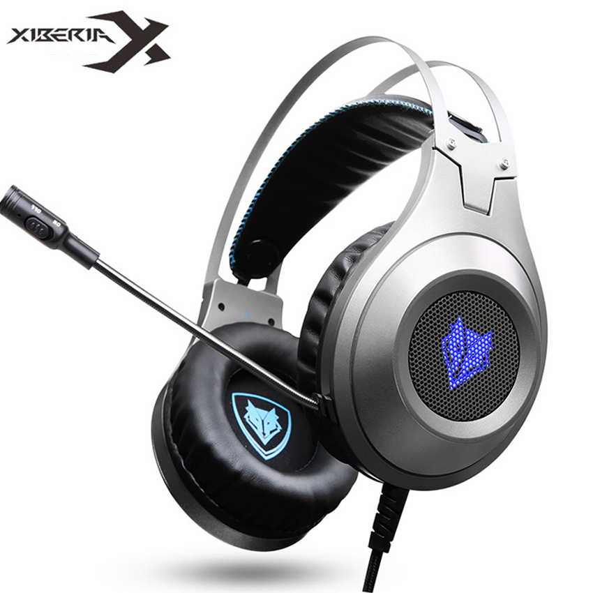 XIBERIA Brand Gaming Headphones NUBWO N2U Wired USB Headset Gamer with Microphone Volume Control LED for Computer Laptop fone each g8200 gaming headphone 7 1 surround usb vibration game headset headband earphone with mic led light for fone pc gamer ps4