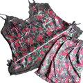 Flor impresso sexy mulheres pijamas de verão conjunto de pano + curto calças Com Decote Em V nova chegada 2017 sleepwear alta-grade sono & lounge hot