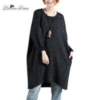 BelineRosa của Phụ Nữ Cộng Với Kích Thước Dresses Mùa Đông Đơn Giản Red & Blue & Black & Ánh Sáng Màu Xám Pure Color Loose Ngắn ăn mặc cho Phụ Nữ MY000006