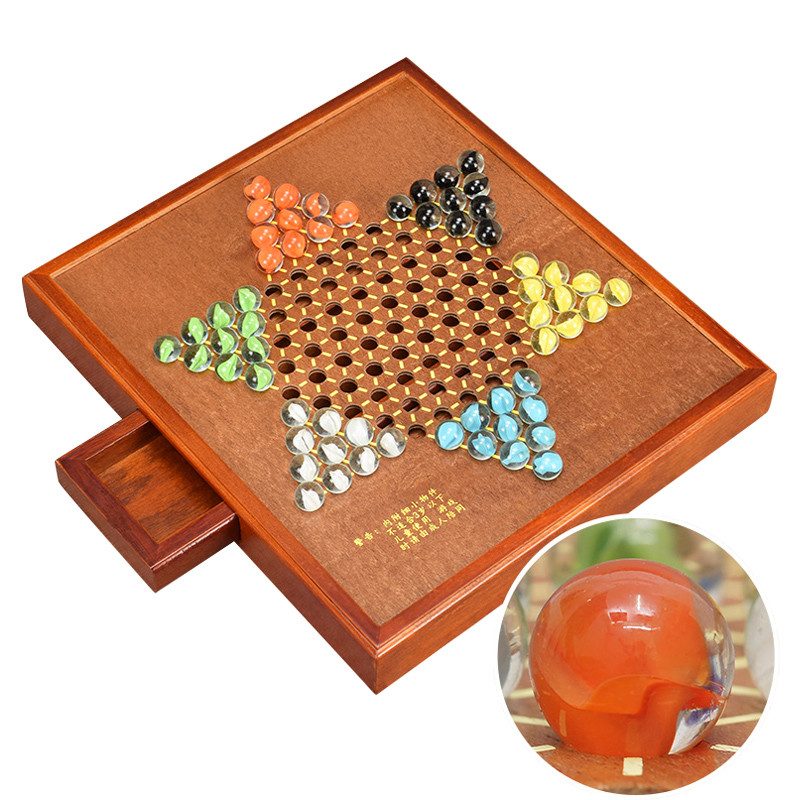 High Grade Multicolor Glass Agate Chinese Checkers Chess Set Fine Wooden Hexagon Rectangle Chessboard Classic Family
