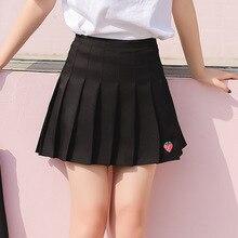 2019 Summer Kawaii Strawberry Embroidery Pleated Skirts Women Korean Ulzzang Mini Skirt Schoolgirl Streetwear