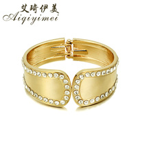 2016 New Fashion Pulseras Gold Cuff Bracelets & Bangles for Women Jewelry Simple Rhinestone snap hook Bracelet Pulseiras Bijoux