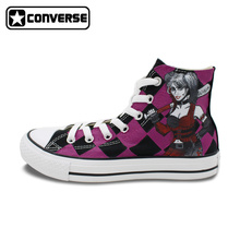 Sneakers Women Men Converse All Star Harley Quinn Design Hand Painted Shoes Custom Unique Canvas Sneakers Christmas Gifts
