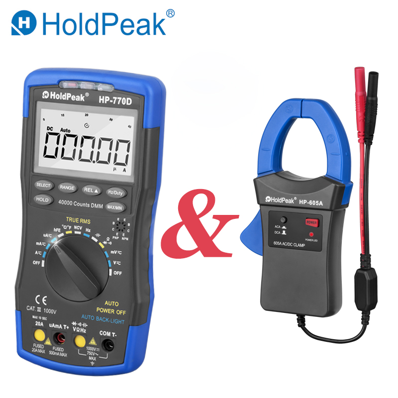 HoldPeak HP-770D True RMS Digital Multimeter 40000 Counts NCV Esr Tester With HP-605A Clamp <font><b>Adapter</b></font> 600A AC/DC Current Power LED image