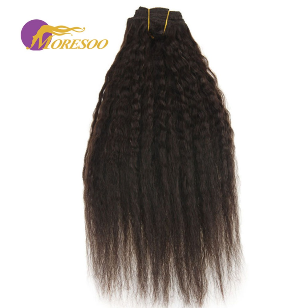 Moresoo кудрявый прямо клип в натуральные волосы 7 шт./компл. 100 г ТОЛСТАЯ целую голову темно-коричневый #2 Цвет клип в наращивание волос