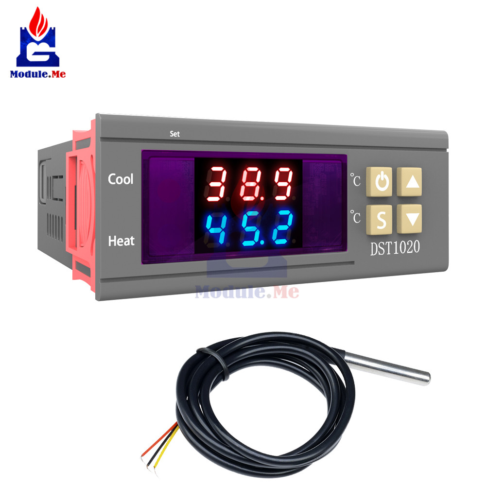DST1020 AC 110-230V Digital Temperature Control Thermostat DS18B20 Probe Cable