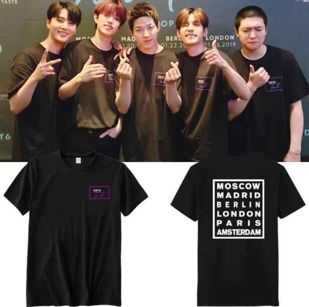 Day6 thanh niên ở châu âu buổi hòa nhạc cùng một in ấn o cổ ngắn tay áo t áo sơ mi mùa hè kpop k-pop unisex thời trang lỏng t-shirt 3 màu sắc