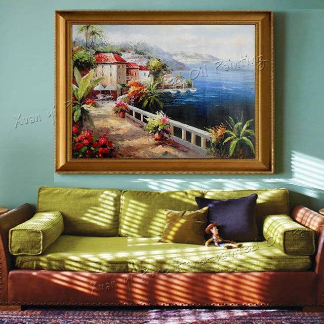 100% Hand Bemalt Hohe Qualität Wandkunst Bunte Golf Dekoration Mediterrane  Landschaft Ölgemälde Auf Leinwand