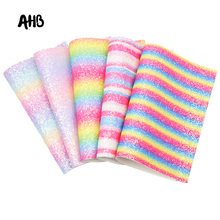 цена AHB Glitter Leather Sheets Gradient Rainbow Chunky Glitter Faux Leather Wedding Decor DIY Bags Bows Materials онлайн в 2017 году
