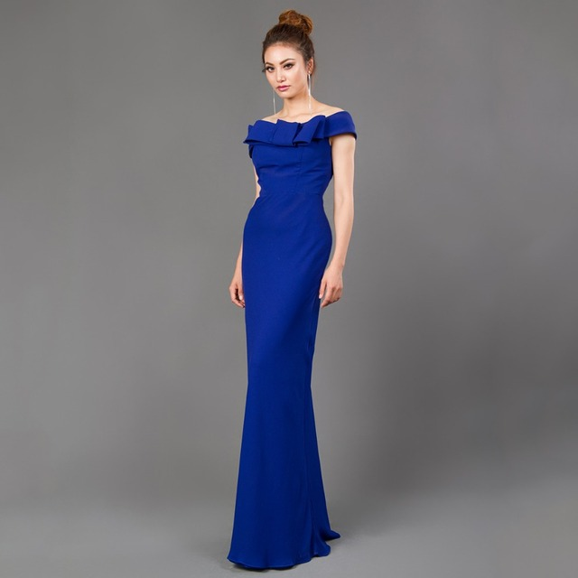 CAZDZY elegant Royal Blue Evening Dress off the shoulder prom gown floor length with big bow for wedding party