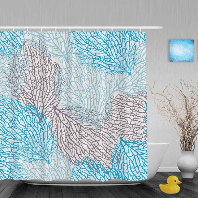 Coral Seamless Vector Pattern Bathroom Shower Curtains Beautiful Sea Life Curtain Waterproof Polyester Fabric With