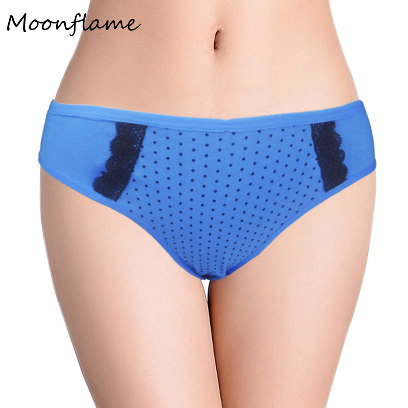 Moonflame Underwear Woman 2019 New Arrival Good Quality Cotton Dot Printed Lace Briefs   Panties   2790