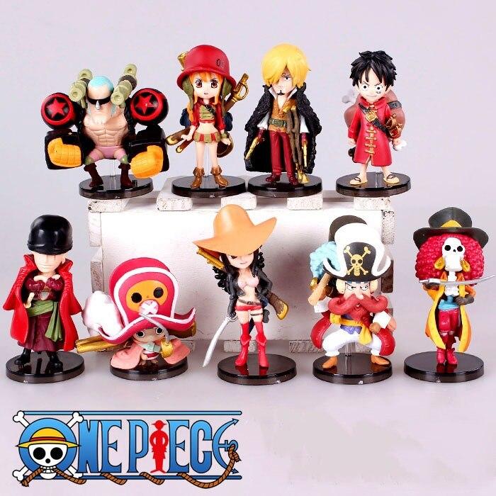 9 Pcs/lot <font><b>Anime</b></font> <font><b>One</b></font> <font><b>Piece</b></font> <font><b>Figures</b></font> Zero Monkey D Luffy <font><b>Action</b></font> <font><b>Figure</b></font> Cartoon <font><b>Character</b></font> <font><b>One</b></font> <font><b>Piece</b></font> Drama Version PVC Toys