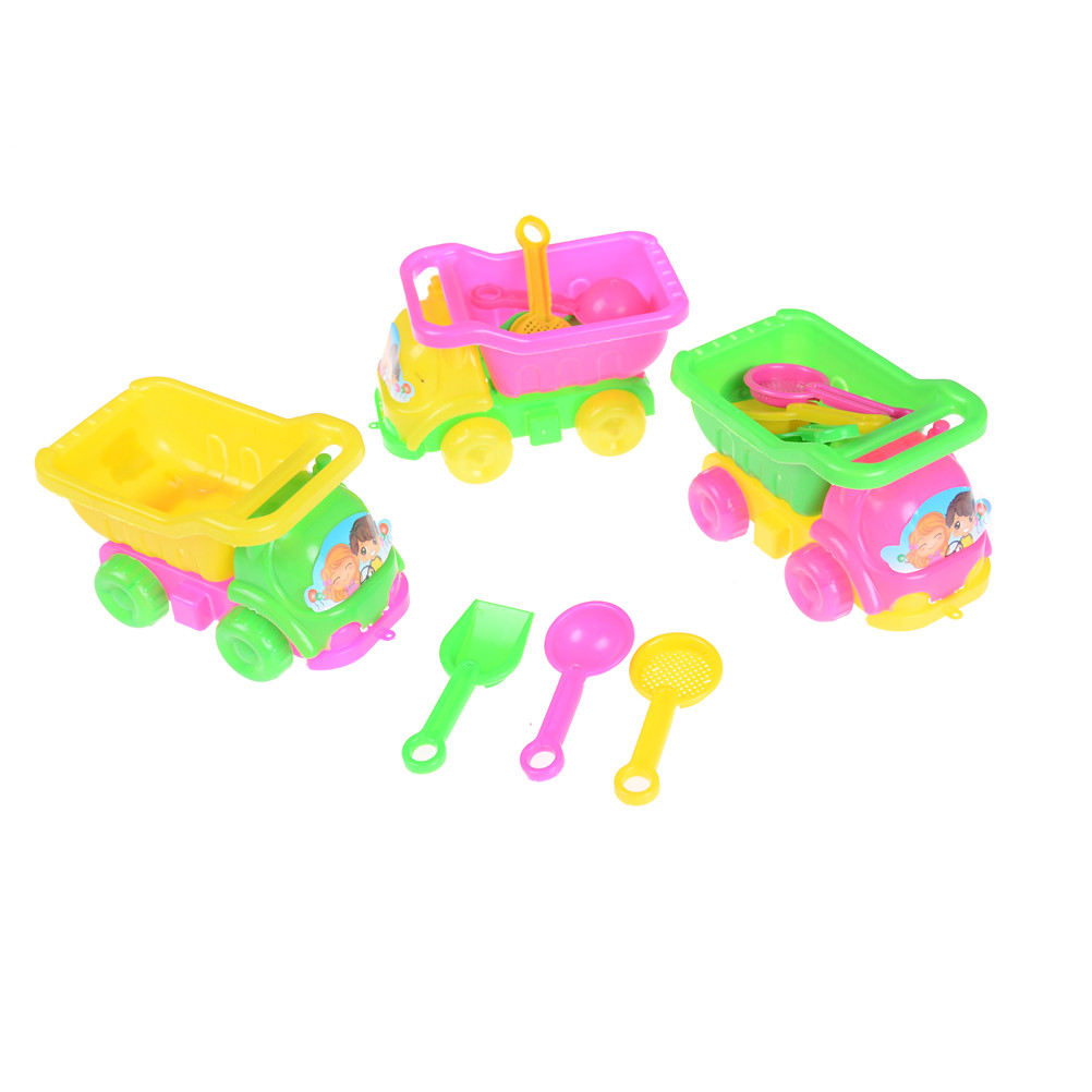 4PCS/Set Funny Kids Water Beach Sand Car Play Toys Set Children Seaside Bucket Shovel Rake Kit Tools Random Color