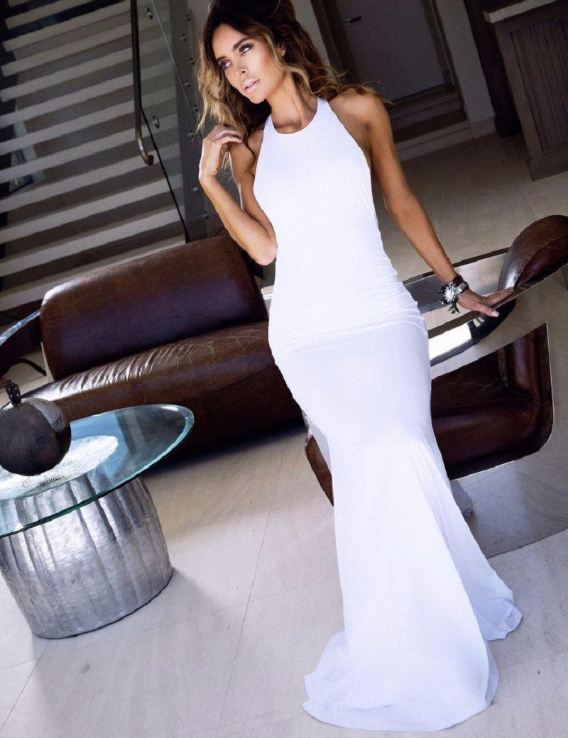 Aliexpress.com : Buy Customized O neck Fitted White Prom Dress ...