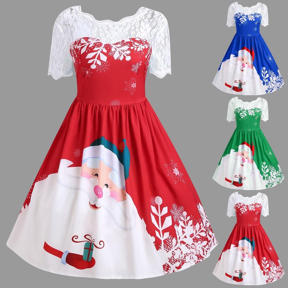 ac469c97bb83 Plus Size Lace Panel Father Christmas Midi Party Dress
