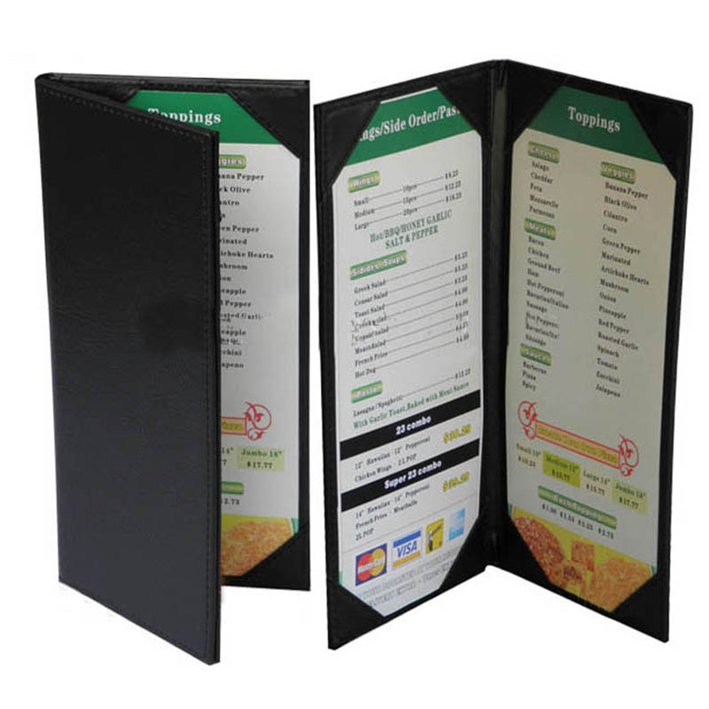 Restaurant menu cover top leather coffee west restaurant for Restaurant table menu