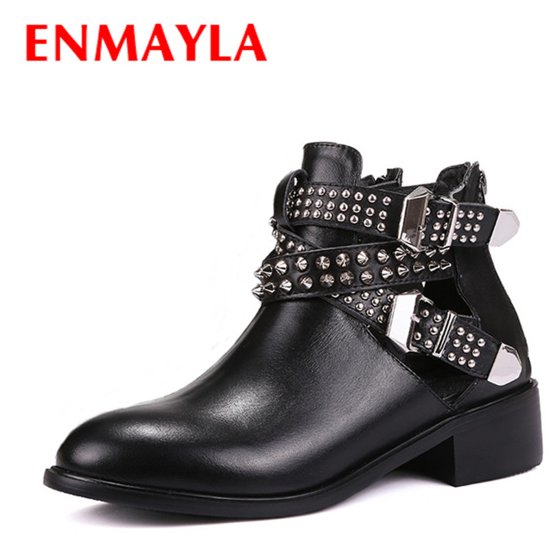 ENMAYLA Low Heels New Motorcycle Boots Shoes Woman Black Spring and Autumn Buckle Strap Rivets Charms Platform Shoes Size 34-39 enmayla ankle boots for women low heels autumn and winter boots shoes woman large size 34 43 round toe motorcycle boots