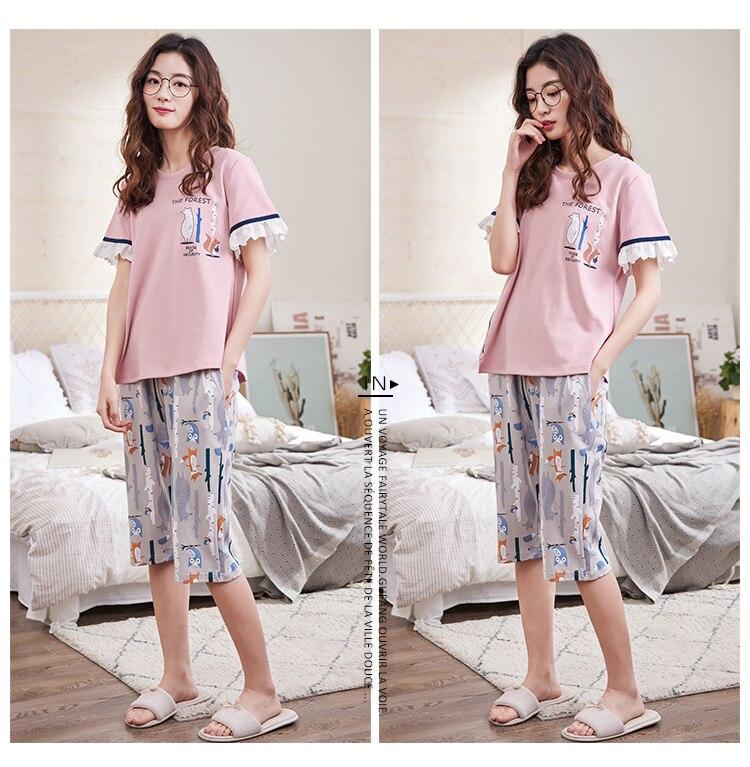 Spring Sumer 2018 Women Pyjamas 100% Cotton Cropped Pants Set Loose Leisure  Female Pajamas Sets Night Suit Sleepwear for Women-in Pajama Sets from  Underwear ... 0569dfe1c